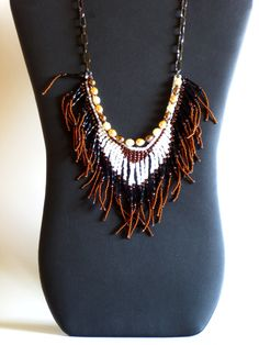 Native American beaded necklace copper, white and black by MontanaTreasuresbyMJ on Etsy