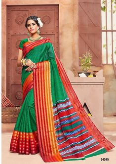 #green #red #colourful #cotton #print #saree | green and red colourful saree | fabric cotton | printed saree | green blouse | party wear | occasional wear | green and red colourful sarees |