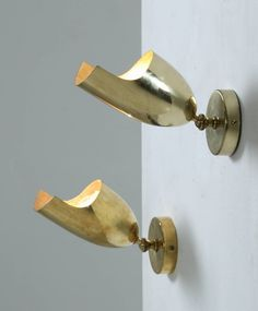 Anonymous; Brass Wall Lights by Idman Oy, 1950s.