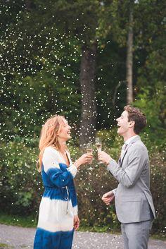 Bride, groom and glitter