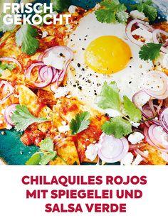 Salsa Verde, Tortillas, Feta, Tortilla Chips, Cooking, Fried Eggs, Meal, Easy Meals, Food Food