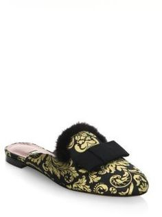 4b6893c0ad2 Gucci Leather slides with mink fur ( 1
