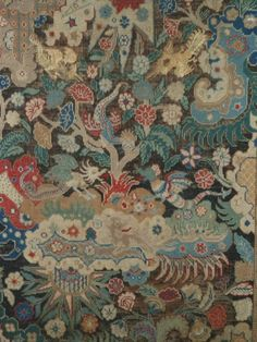 The Original London Antique Textiles, Carpets French 18th c. gros petit point silk and wool embroidered fire screen