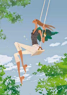 Yuko Yoshioka woman swing illustration