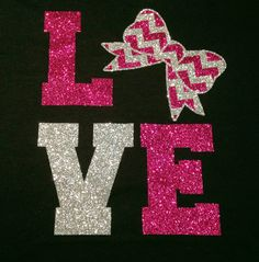 """Custom Glitter """"LOVE"""" Chevron and Bow Cheer T-Shirt - Multiple Colors Available"""