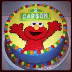 elmo cake ideas | Elmo Birthday Cake | Birthday Party Ideas (Love this cake, love all the beautiful colors. Also the age and child's name on a Sesame street style sign, so adorable)!