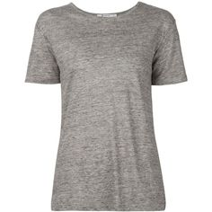 T By Alexander Wang Marled T-Shirt ($141) ❤ liked on Polyvore featuring tops, t-shirts, grey, linen tee, gray t shirt, short sleeve t shirts, linen t shirt and short sleeve tee
