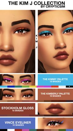 "crypticsim: "" THE KIM J COLLECTION Happy Birthday, Kim! The Kim J collection consists of the Kimmy palette (bright colors), the Kimberly palette (neutral colors), Stockholm gloss, and Vince eyeliner. Maxis, Sims 4 Teen, Sims 4 Toddler, Sims 4 Mm Cc, Sims Four, Sims 4 Mods Clothes, Sims 4 Clothing, The Sims 4 Skin, Sims 4 Traits"