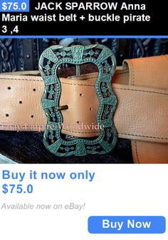 Halloween Costumes: Jack Sparrow Anna Maria Waist Belt + Buckle Pirate 3 ,4 BUY IT NOW ONLY: $75.0