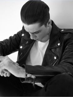 Ash Stymest in the Blk Dnm Leather Jacket for REVOLVEman Spring 15