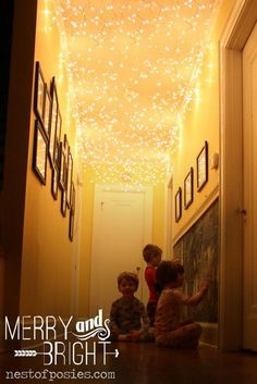 All things Merry & Bright! add Twinkle lights to your hallway – Nest of Posies All Things Merry & Bright! Add some fun twinkle lights to a room or hall via Nest of Posies Diy Christmas Lights, Decorating With Christmas Lights, Noel Christmas, Winter Christmas, Homemade Christmas, Holiday Decorating, Christmas Ceiling Decorations, Holiday Lights, Christmas Morning