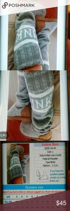 Winter Fashion Pink knitted Warm Boots with Pink Embroidery. Cozy and Warm gray and white Size,9-10 Shoes Winter & Rain Boots