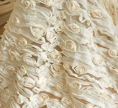 Yellow chiffon flower lace fabric.