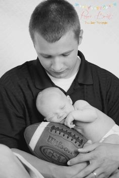 Dad with Newborn & Football - #Newborn #Football #Dad