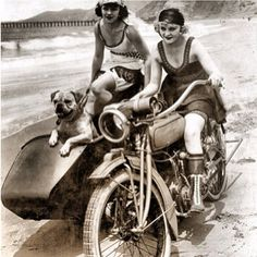 A Day At The Beach. Flappers pug and motorcycle with side car