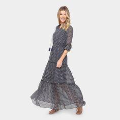 c1897e818 Vestido Lily Fashion Evasê Longo Estampado - Compre Agora