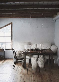 my scandinavian home: A Magical Norwegian Cottage With a Wabi Sabi Vibe Magical Home, Vintage Mirrors, String Lights Outdoor, Cabin Design, Table And Chairs, Dining Tables, Dining Rooms, Home And Deco, Scandinavian Home
