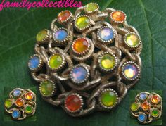 Vintage Sarah Coventry AB Fruit Salad Brooch Earring Set by familycollectibles4U, $65.00