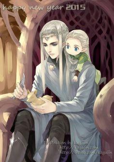 Thranduil and Baby Legolas by kagalin