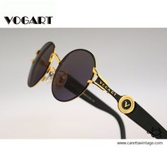 Vogart By Police 3527 101, Vintage round sunglasses, 90s unique and rare black and gold color combination / NOS