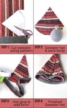 Girl Gnome, Gnome Hat, Sewing Patterns Free, Free Sewing, Sock Crafts, Diy Crafts, Hat Template, Gnome Ornaments, Christmas Ornaments