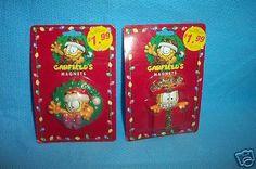 VINTAGE  GARFIELD  2 MATRIX MAGNETS MINT IN PKG Garfield 2, Magnets, Xmas, Mint, Vintage, Kitchen, Yule, Peppermint, Cucina