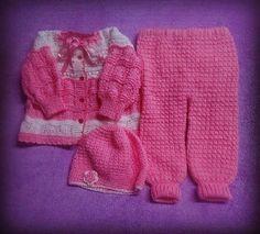 cb1f0af4c Pronta entrega! Conjunto em tricô à mão e crochê. Confeccionado com lã  especial para