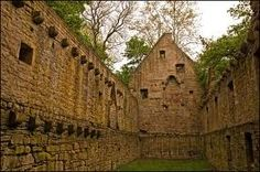 The ruins of Monastery of Disibodenberg, where Hildegarde von Bingen had been walled in with Countess Jutta Sponheim.