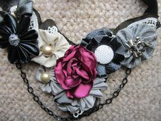 Bib Necklace Lace-Beads, Chains, Pearls and Fabric Flowers