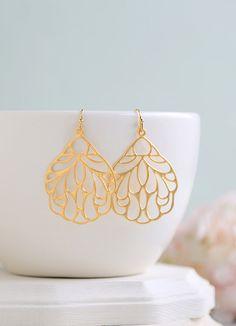 Large Matte Gold Filigree Earrings. Boho Chic Moroccan Bohemian Filigree Dangle Earrings, Modern Everyday Earrings on Etsy, $19.50