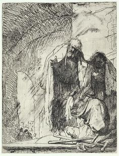 Rembrandt Harmenszoon van Rijn Peter and John at the gate of the Temple 1629