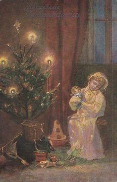 """Wohlgemuth & Lissner """"Heilige Nacht"""", Mädchen schläft am Weihnachtsbaum, Puppe,"""