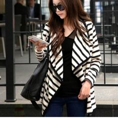 New Fashion Women's Stripe Cardigan Long Sleeve Cotton Coat
