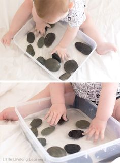 Pebble and Water Sensory Tub for Babies is part of Summer crafts For 10 Year Olds - Set up a simple pebble and water sensory tub for babies this Summer! Explore sounds, textures and temperatures with these easy baby play idea Baby Learning Activities, Infant Sensory Activities, Baby Sensory Play, Sensory Tubs, Baby Play, 7 Month Old Baby Activities, Family Activities, Baby Sensory Bags, Kids Learning