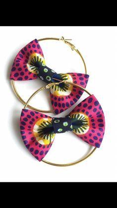 Hoop earrings hoop earrings diy jewelry - Home & DIY Textile Jewelry, Fabric Jewelry, Beaded Jewelry, African Earrings, African Jewelry, Earrings Handmade, Handmade Jewelry, Fabric Earrings, Diy Bow Earrings