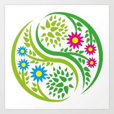 Yin Yang Flower Art Print by FishDesigns - X-Small Iphone Skins, Yin Yang, Pillow Shams, Tech Accessories, Framed Art Prints, Wall Tapestry, Wall Murals, Flower Art, Stationery