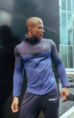 Fit Hooded Top 2.0 - Navy/Light Blue Marl  #Gymshark