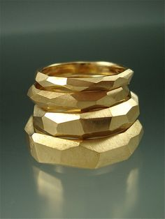 14k gold Chiseled Ring Set  Made to Order by daniellejewelry