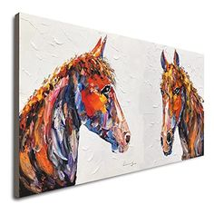 Amazon.com: Horse Wall Decor Handmade Painting Horses Painting Hand Painted Horse Acrylic Painting On Canvas Abstract Brown Horse Oil Painting Large Original Contemporary Art Boho Living Room Wall Decor: Handmade