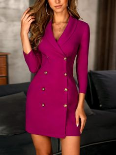 Solid Double-Breasted OL Blazer Dress - Solid Double-Breasted OL Blazer Dress Source by slaclef - Blazer Outfits, Blazer Fashion, Blazer Dress, Coat Dress, Dress Outfits, Casual Dresses, Fashion Dresses, Dress Up, Bodycon Dress
