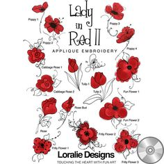 Lady in Red 2 Embroidery Design Collection | CD - Embroidery Designs – Loralie Designs