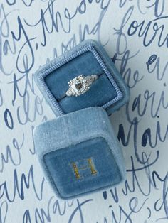Wedding Stationery Inspiration: Blue Wedding Stationery including Escort Cards, Menus, Table Numbers and more via Oh So Beautiful Paper Blue Wedding Rings, Wedding Ring Box, Wedding Rings Vintage, Wedding Bands, Dream Wedding, Wedding Beauty, Luxury Wedding, Rustic Wedding, Wedding Ceremony