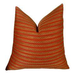 Plutus Tied Rows Handmade Throw Pillow, Red