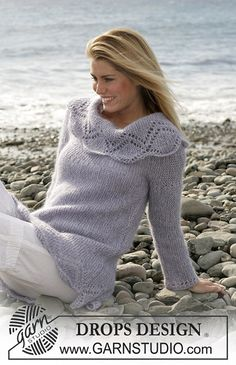 "Ravelry: 101-3 jumper in garter sts with lace pattern in ""Alpaca"" and ""Vivaldi"" FREE pattern by DROPS design"