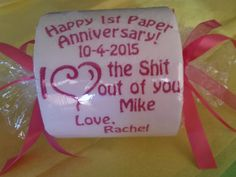 "Happy 1st ""Paper"" Anniversary Embroidered Toilet Paper Gift Custom Embroidery Wedding Personalization for Her for Him"