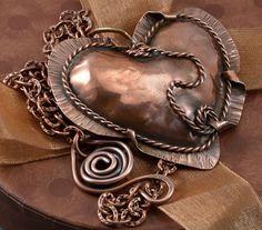 Copper Repousse Heart Necklace