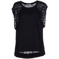 Pam & Gela Sweatshirt ($110) ❤ liked on Polyvore featuring tops, hoodies, sweatshirts, black, lace sleeveless top, sweat tops, black top, black lace top and sweat shirts