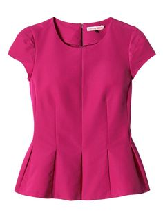 Women's wear designer Rebecca Taylor has created this hot-pink flutter top with a pleated peplum hem. Half of the proceeds from the pink top will go directly to the Triple Negative Breast Cancer Foundation. Blouse Styles, Blouse Designs, Hijab Fashion, Fashion Dresses, Fashion Articles, Cotton Blouses, Cotton Shirts, Personalized T Shirts, Rebecca Taylor