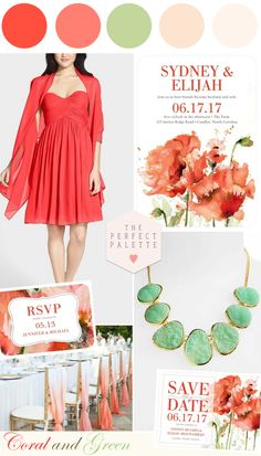 Watercolor Inspired Florals: Coral and Green