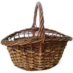 Vintage gathering basket, American, wicker & splint (c 1940s)
